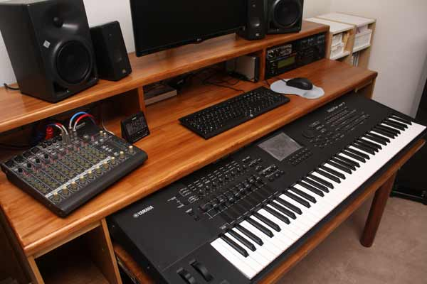 Close Up Of The Desk Surface With Music Equipment On