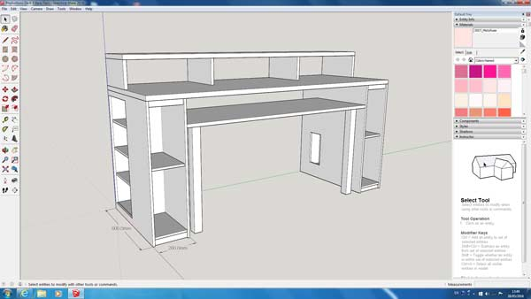 screen shot of my desk in sketchup - Music Production Desk