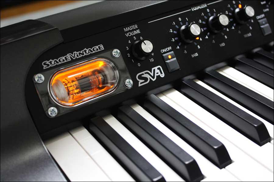 Close-up of the left-hand side of the the Korg SV-1 keyboard, showing the valve illuminated.
