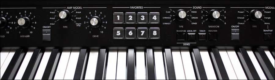 The central section of the keyboard showing the 'Favorites' section.