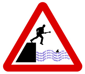 Pay-to-Play. A triangular road sign showing a guitarist stepping off a quay into water.