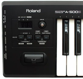 Control panel of the Roland A-500S Midi Keyboard Controller.