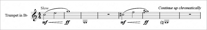 Music for a trumpet exercise to develop the high register.